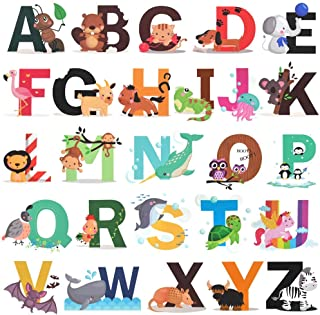Alphabet Wall Decals, H2MTOOL Removable Animal ABC Wall...