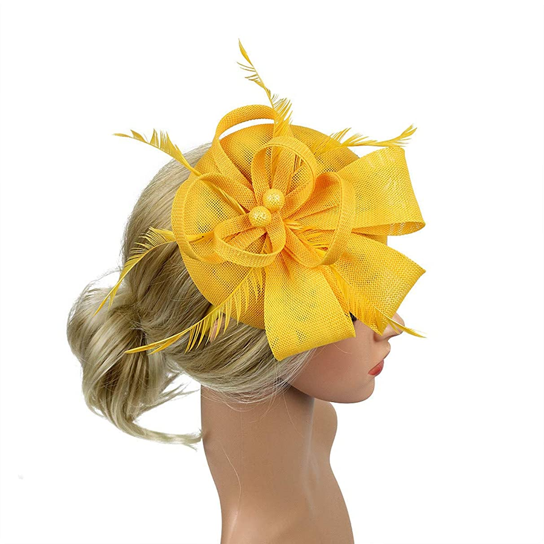Fascinators Pillbox Tea Hat for Women Tea Party Accessories Set - Kentucky Derby Headband,Gloves, Long Cigarette Holder (11.81X10.23in, Yellow)