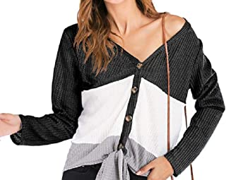 S-Fly Womens Waffle Long Sleeve Top Casual Buttons Tie Up Colorblock Shirts Blouse