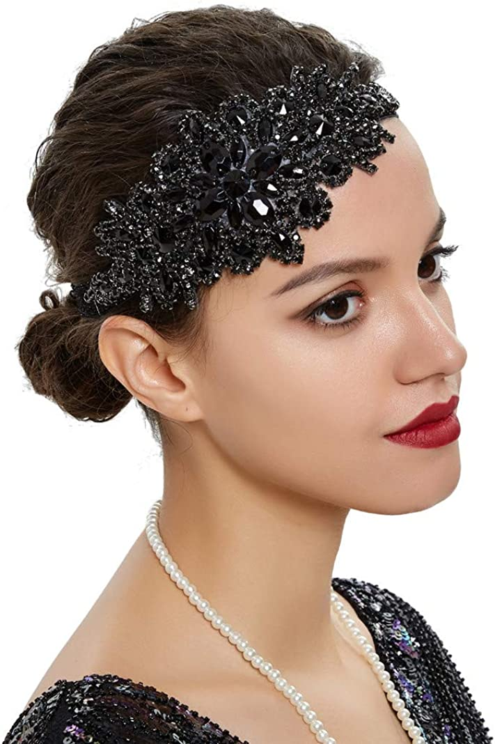 Art Deco Import 1920s Flapper Headband Feather Now free shipping Great Roaring Gatsby 20s