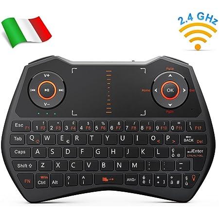 Rii Mini i28C Wireless (Layout Italiano) – Mini teclado retroiluminado con panel táctil para Smart TV, Mini PC, TV Box, HTPC, consola, ordenador