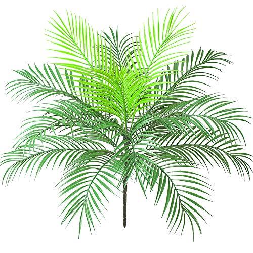 Aisamco Arbusto de hoja de palma tropical artificial Planta artificial en verde 1 pieza Plástico Areca Palmera Planta 15 Hojas 63 cm de alto para vegetación tropical Acento Arreglo floral