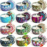 YYCH Scented Candles Soy Wax Tin Candles, Natural Fragrance Candles for Stress Relief and Aromatherapy Candles Set of 12