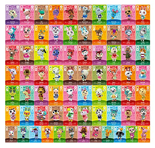 72 pcs NFC Tag Game Rare Villager Amiibo Cards for ACNH New Horizons, 72 pcs NFC Game Cards with Crystal Case Compatible with Switch, Switch Lite, Wii U, and New 3DS Series 1-4