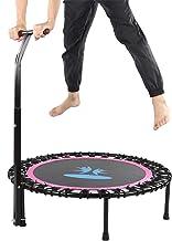 Mini Trampoline, Trampoline, Opvouwbare Trampoline met Leuning Fitness Rebounder Gewichtsreductiemiddel Rozerood voor Kind...