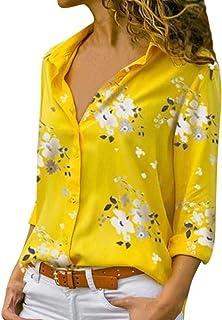 Xmiral Camicetta Pullover Top Camicia Donna Stampa Scollo V Bottone Stampato