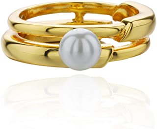 Mother's Day Girls Gift Classic Ladies Clothing Accessories Gold-plated Synthetic White Pearl Bracelet + Gold Ladies Ring