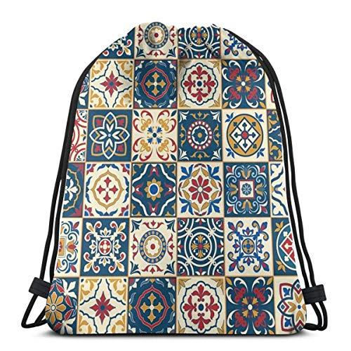 OPLKJ Kordelzug Rucksack Tasche, marokkanische Fliesen Muster Gym Bag Tragbare Sackpack Aufbewahrungstasche für Camping Wandern Schwimmen Einkaufen Wandern Travel Beach