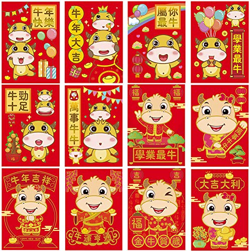 36 Pieces Chinese New Year of The Cattle Red Envelopes Year of 2021 Chinese...