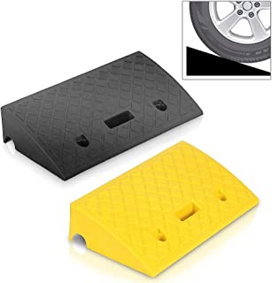 Portable Lightweight Plastic Curb Ramps - 2PC Heavy Duty Plastic Threshold Ramp Kit Set for Driveway, Loading Dock, Sidewalk, Car, Truck, Scooter, Bike, Motorcycle, Wheelchair Mobility - Pyle PCRBDR27