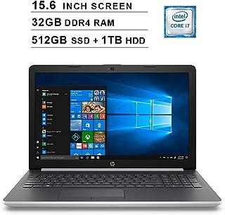 HP 2019 Newest 15.6 Inch HD Laptop (Intel Quad Core i7-8550U up to 4.0 GHz, 32GB RAM, 512GB SSD + 1TB HDD, Intel HD Graphics 620, WiFi, Bluetooth, DVD, HDMI, Windows 10 (Silver)
