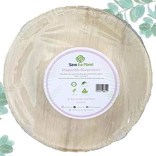 """Disposable Plates - 10pcs set of 10"""" Round Natural Eco-friendly disposable palm leaf plates/bowls - Biodegradable party pl..."""