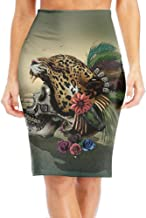 WOAIDY Leopard Skull Art Women's Fashion Printed Pencil Skirt