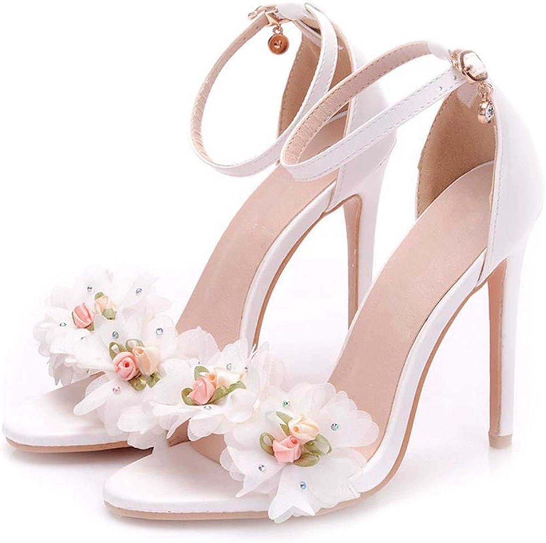 Owen Moll Women Pumps, Elegant Thin Heels White Flowers Decoration Bride Weeding shoes