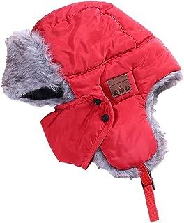 MagiDeal Winter Unisex 4.1 Bluetooth Beanie Hat Mask Type Warm Lei Feng Hat Cotton Winter Warm Snow Cap Bluetooth Warm Hat Wireless Stereo Headphone - red