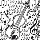 GRAZDesign Musiknoten Wandtattoo Notenschlüssel, Türaufkleber für Musikraum/Wohnzimmer, Wandtattoo Geige / 57x57cm / 070 schwarz