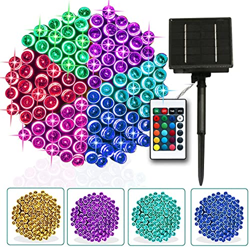 Solar Colorful Outdoor String Lights Independence DayDecor, 16 Colors Changing Christmas Lights Remote 33ft 100 LEDs Waterproof Xmas Tree Lights for Patio Yard Party Garden Decoration