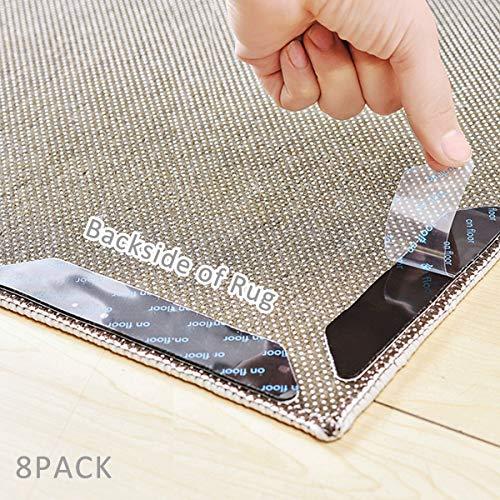 IKOOMEE rutschfeste Teppich-Greifer, 8 Stück, wiederverwendbare Boden-Teppich-Aufkleber für Holz, Laminat, Marmor und Keramik-Fliesen