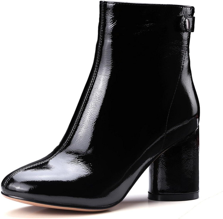 Nine Seven Patent Leather Women's Round Toe Chunky Heel Elegant Handmade Dressy Ankle Boots