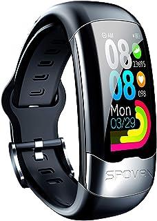 LTLGHY Pulsera Inteligente, Smartwatch,Reloj Inteligente con Pulsómetro ECG Ejercicio Monitoreo De Frecuencia Cardíaca Duración De La Batería Pulsera Larga Carga Directa USB,Negro
