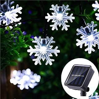 Lumsworld 30Ft 50 LED Solar Christmas Lights Outdoor Snowflake Lights, White Christmas Tree Lights Outdoor Waterproof, Solar Christmas Snowflake Lights for Christmas Wedding Party Patio Yard Garden