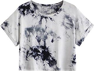 SweatyRocks Women`s Casual Tie Dye Tee Short Sleeve Basic Crop Top T-Shirt