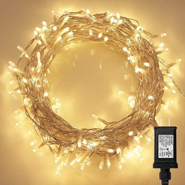200 LED 室内串灯,带远程和定时器,透明串 8 种模式可调光低压插头暖白色