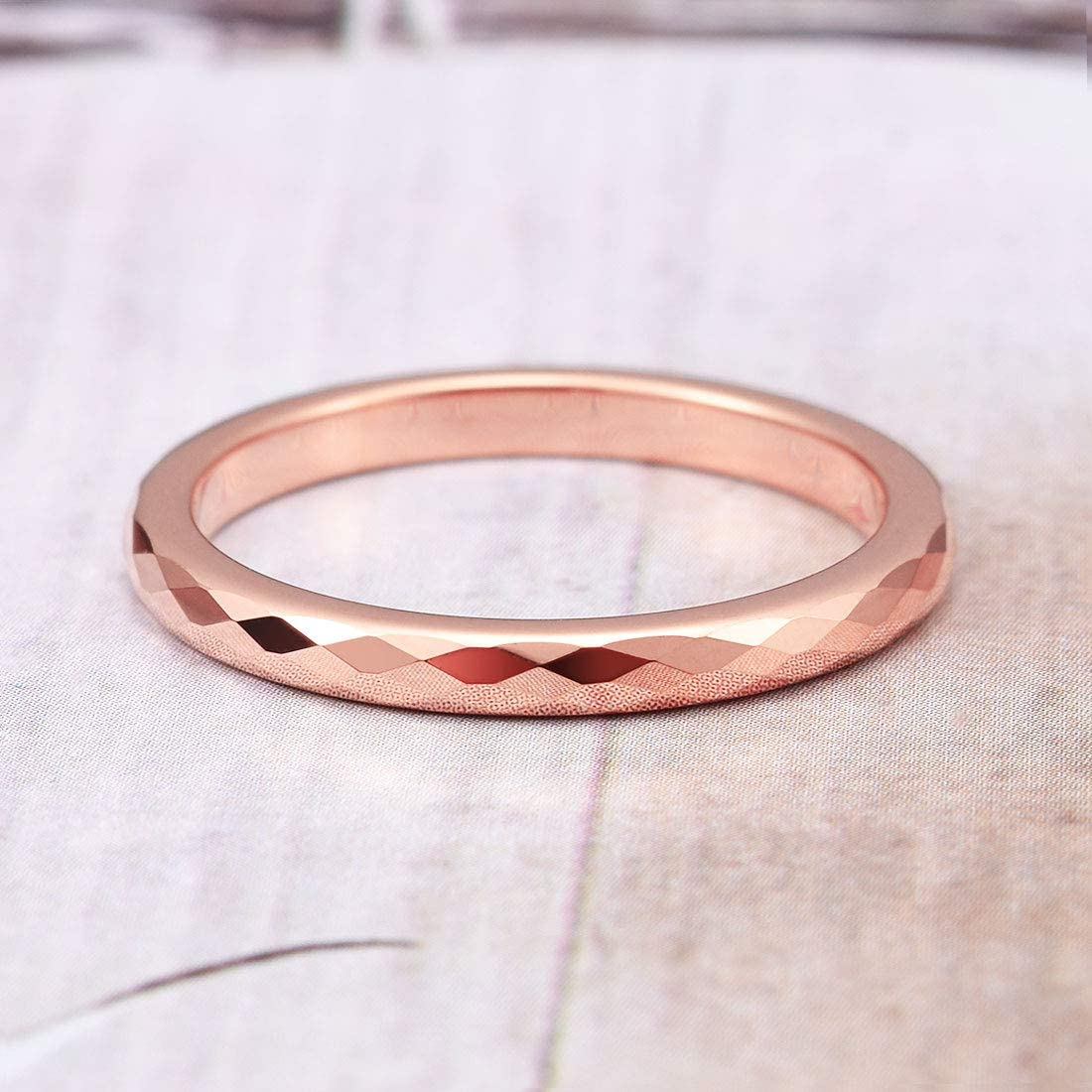 THREE KEYS JEWELRY Women Wedding Bands 2 4mm Rose Gold Tungsten Carbide Ring Polished Multi-faceted Infinity Unique for Her