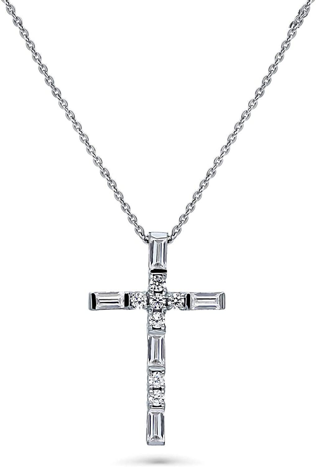 All stores are sold BERRICLE Rhodium Plated Sterling Silver Surprise price Zirconia Cubic CZ Cross