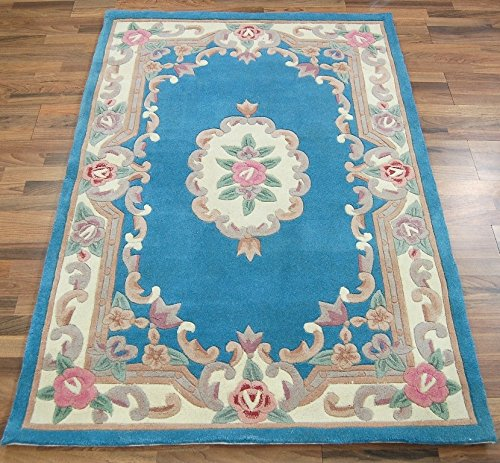Original tradicional clásico Aubusson Floral 100% lana Tejido a mano chino alfombra,...