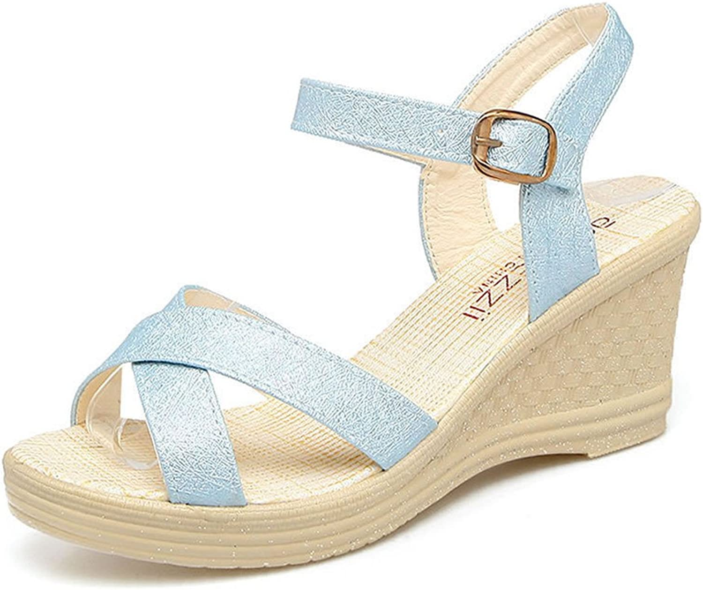 Matari Women's Wedge Heels Simple Style Buckle Sandals