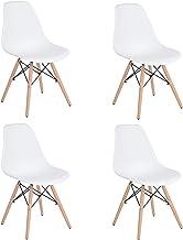 HOMEMAKE FURNITURE Juego de 4 sillas de comedor de estilo moderno premontadas Silla de Eames moderna de mediados de siglo, silla de plástico Shell Lounge para cocina, comedor, dormitorio, sillas de salón Blanco