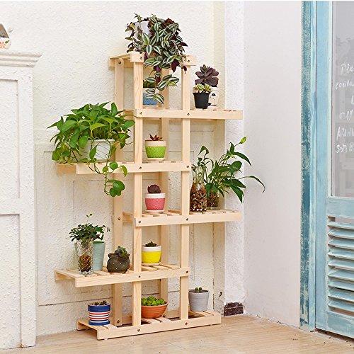 Porte-fleurs multifonctions Porte-fleurs en bois massif Balcon multi-étages plancher en bois style bonsaï étagère à fleurs Salon intérieur fleur rack (3 couleurs en option) (130 * 62cm) Applicable a