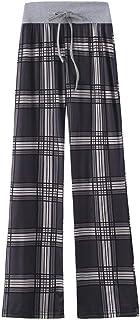 Pantaloni da salotto a gamba lunga con stampa a quadri elasticizzati comodi da donna