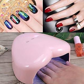 Pokerty9 Lámpara de uñas UVLED, Herramientas prácticas de decoración de uñas en Forma de corazón, sin Zona Muerta 18W para uñas de Gel UV o Gel de extensión de Gel LED(Pink)