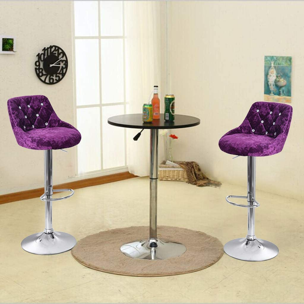 Heberry Flannel Stools Set of 2,Household Pub Table Counter Bar Seat Height Adjust Lift Chair,Built in 360/° Swivel Leisure Chairs Dining Kitchen Chair Furniture Dining Room Purple, 46/×36x84/—105cm