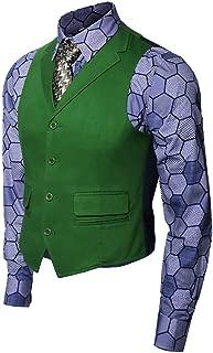 Mens Joker Costume Shirt Vest Tie Suit Set Knight Clown Halloween Cosplay Outfit Fancy Dress Up