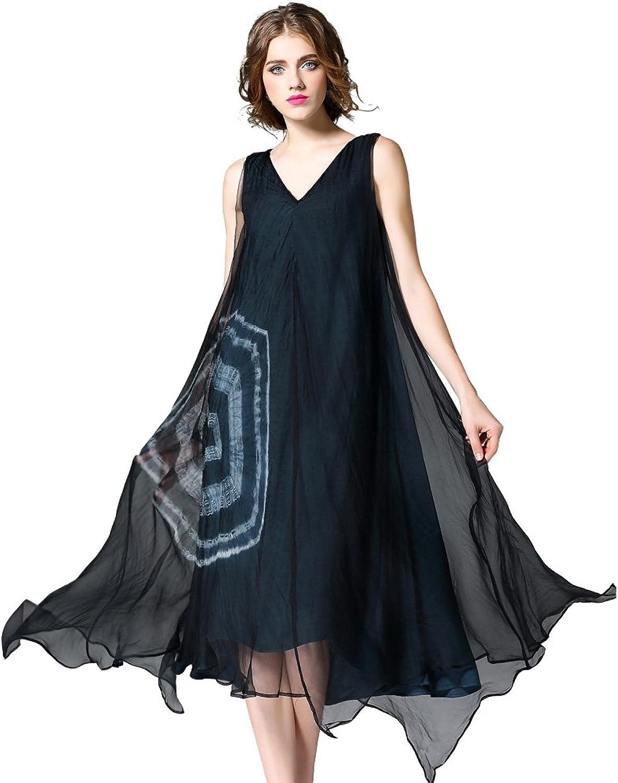 DIFANER Women's Vneck Loose Silk Sundress A Line Sleeveless Printed Tank Dress Skirt