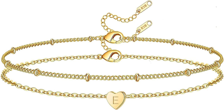 Glimmerst Heart Initial Bracelet for Women, 18k Gold Plated Stainless Steel Beaded Chain Layered Letter Bracelet Personalized Name Bracelet for Girls