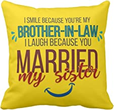 Yaya Cafe 20X20 inches Birthday for Brother in Law Jiju Cotton Cushion Cover Funny Teasing I Smile I Laugh Brother in Law Yellow