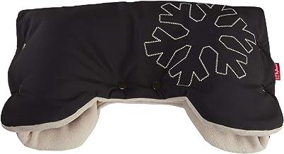 ByBoom - Softshell Handwärmer Thermo Aktiv Funktions-Handmuff mit Fleece Innenseite, Universalgröße für Kinderwagen, Buggy, Jogger, Radanhänger, Farbe:Schwarz/Beige