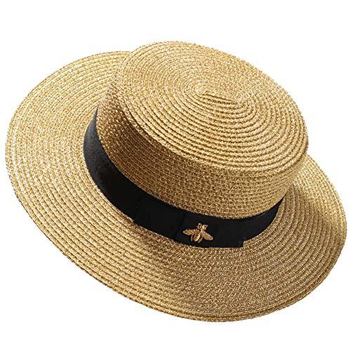 LTSWEET Strohhut Damen Outdoor Sommer Sonnenschutz Kreissäge Strohhut Beach Cap Soft Atmungsaktiv UV-Schutz Verstellbarer Kordelzug Erwachsene Farbe Natur Klassische Panama Hut,Gold