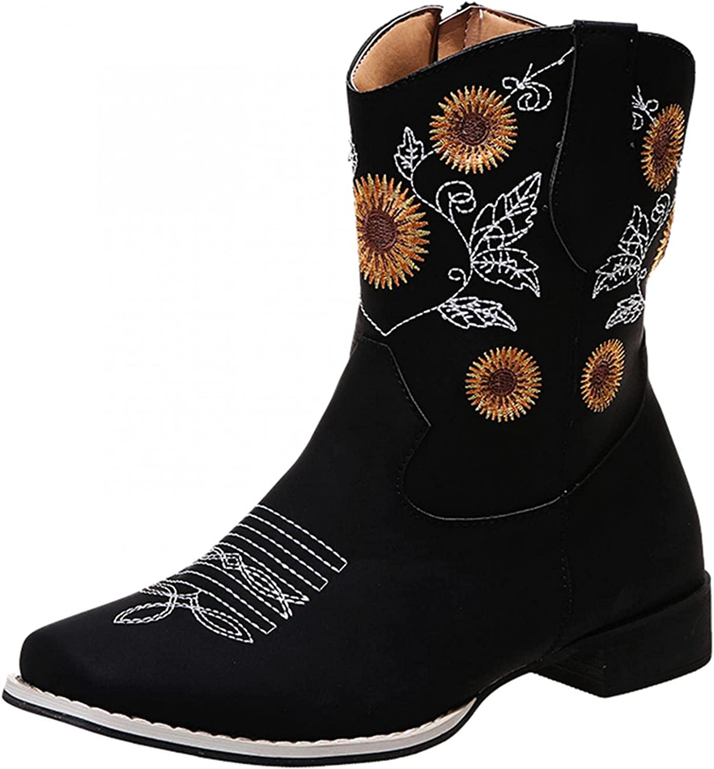 Masbird Western Boots for Sunflowers Ankle Spring new work Women Ranking TOP20 Embroider