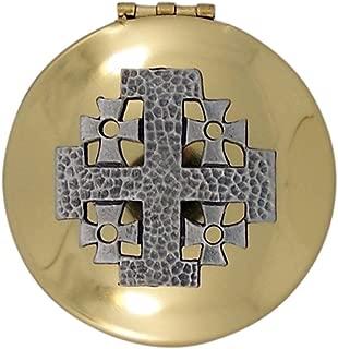 Polished Brass Small Eucharist PYX with Pewter Jerusalem Cross, 1 1/2 Inch