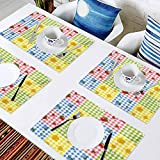 L'sWOW - Manteles individuales resistentes a las manchas para mesa de comedor, duradero, patrón colorido con fresas Chamo, fácil de limpiar Premium manteles para mesa de comedor, juego de 4