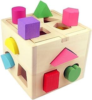 Gearmax Cubo de Madera con Formas para Bebés Niños Juguete Educativo