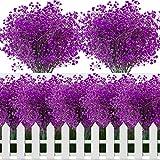 6PCS Arbusto Artificiale, 40cm Fiori Artificiali, Resistente ai Raggi UV Bouquet Fiori Artificiali, Fiori Finti da Esterno per Decorazione del Giardino di Matrimonio(Fucsia)