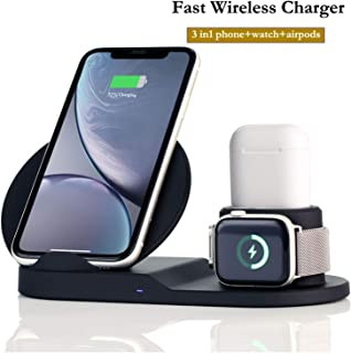 Wireless Charger Station,3 in 1 Charging Stand for Apple Watch, Dock for AirPods, Qi-Certified Wireless Charger for iPhone 11 Pro Max/11/xr/8/Xs/Samsung/All Qi Phones, with AC Adapter