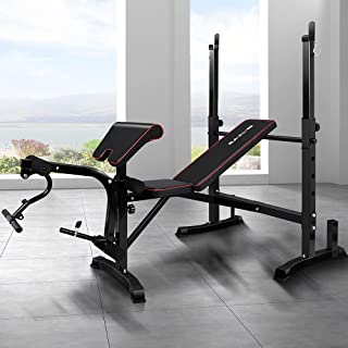 BLACK LORD Multi-Station Home Gym Fitness Abdominal Strength Training Equipment Adjustable Bench Military Press Workouts