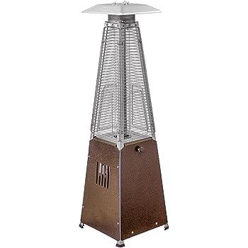 Hiland HLDS032-GTTHG Portable Propane Table Top Pyramid Glass Tube Patio Heater, 9500 BTU, Bronze